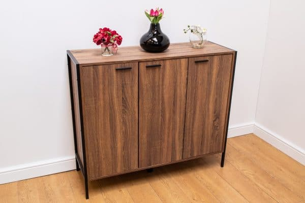 Stretton Sideboard Storage Cupboard 3 Doors Rustic Wenge Oak Effect
