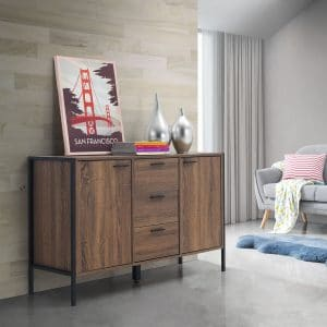 Stretton 2 Door 3 Drawer Sideboard Wenge Oak