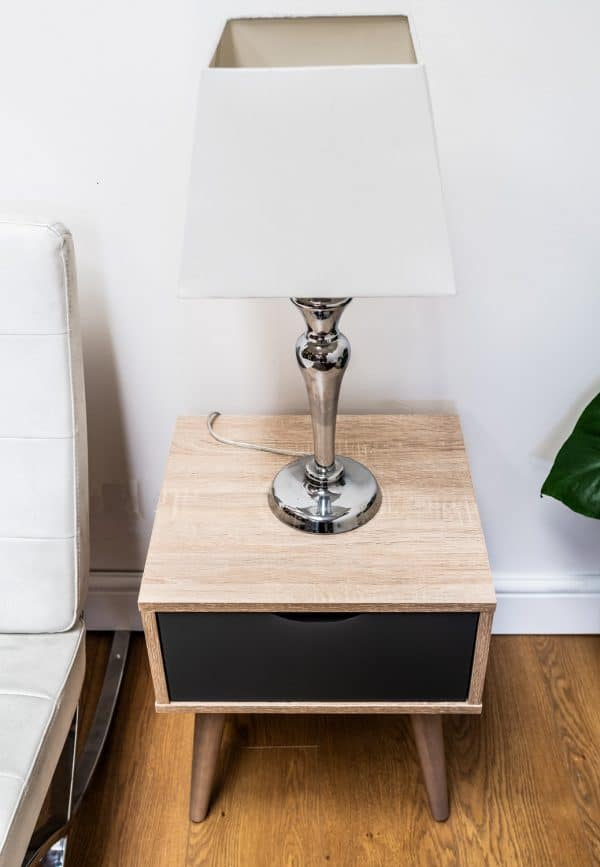 Alford Bedside Lamp Side Table 1 Drawer Scandinavian Sonoma Oak & Grey